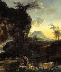 Landschap met waterval en herder
