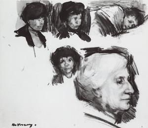 Studieblad met de moeder en de vrouw van de schilder