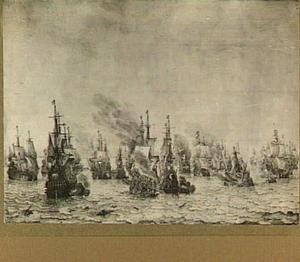 Zeeslag bij Livorno, 14 maart 1653; episode uit de Eerste Engelse zeeoorlog (1652-1654); algemeen overzicht van verschillende incidenten met van links naar rechts o.a. de 'Witte Olifant', de 'Halve Maen', de 'Sampson', de 'Maegd van Enkhuizen' en de 'Zeven Provinciën'