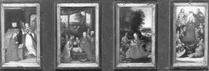 De annunciatie, de geboorte, de rust op de vlucht naar Egypte, de tenhemelopneming van Maria