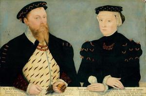Dubbelportret van Moritz von Sachsen (1521-1553) en Agnes von Hessen (1527-1555)