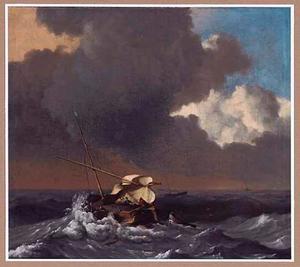 Vissersboot in stormachtig weer
