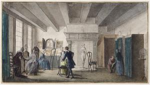 Cornelis Ploos van Amstel (1726-1798) met gasten in zijn kunstkabinet