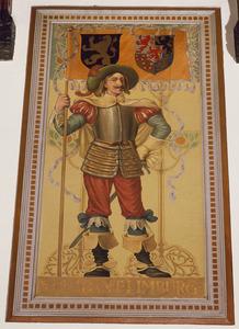 Schutter met vaandel voorzien van de wapens van de provincies Noord-Brabant en Limburg