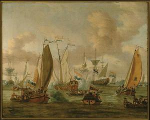 Spiegelgevecht op het IJ te Amsterdam ter ere van het bezoek van Tsaar Peter de Grote op 1 september 1697