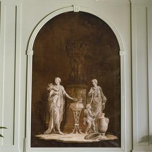 Offer bij een beeld van de Drie Gratiën