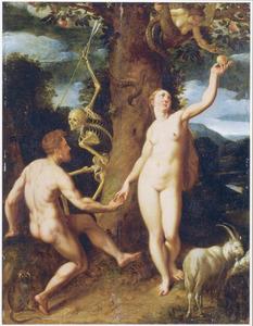 De Zondeval: Eva biedt Adam het fruit aan  (Genesis 3:6) in aanwezigheid van de personificatie van de Dood