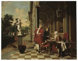 Een elegante rokende man en een handwerkende vrouw op een bordes in klassieke stijl, een vrolijk gezelschap in een tuin op de achtergrond