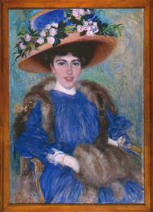 Portret van een dame met hoed en mof