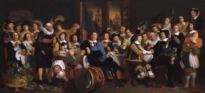Schuttersmaaltijd in de Voetboog- of St. Jorisdoelen te Amsterdam ter viering van het sluiten van de Vrede van Münster, 18 juni 1648