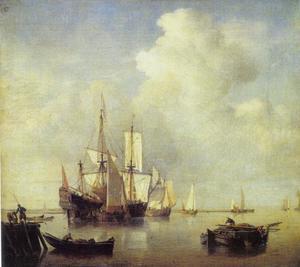 Boten en schepen op zee