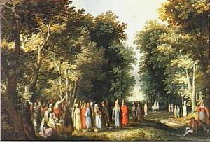 Johannes de Doper predikend in de menigte