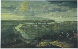 Gezicht op Gravelines, tijdens een belegering, mogelijk 28 juli 1644