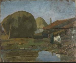Haystacks, farm building and farm woman with the wash