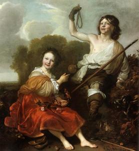 Portret van twee kinderen als jager en herderin