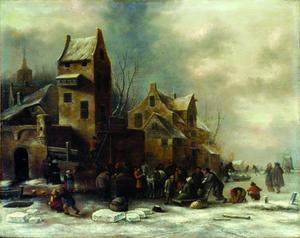 Winterlandschap met molen en figuren op het ijs