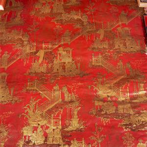 Chinoiserie-patroon tegen een rood fond