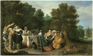 Elegant gezelschap rondom een tafel in een park
