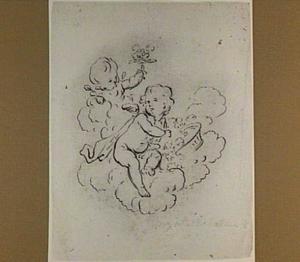 Putti met bloemenmand op wolken
