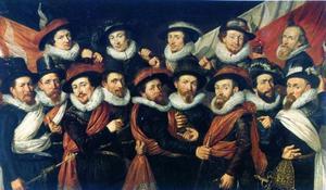 Korporaalschap van kolonel Andries Louris van Swaenswijck en zijn (onder)officieren, met wellicht een zelfportret van de kunstenaar, rechtsboven
