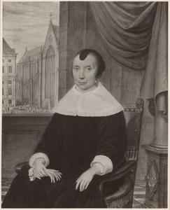Portret van Margaretha de Vlaming van Oudtshoorn (1598-1678), met doorkijk naar deD am in Amsterdam