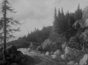 Noors boslandschap met een ruiter