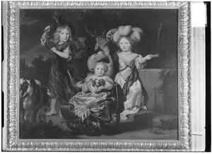Drie kinderen in een landschap, mogelijk Maria (1671-1701), Alexander (geb. 1673) en Helena de Vicq (1676-1738)