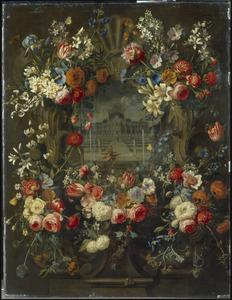 Gebeeldhouwde cartouche versierd met bloemen, rondom een paleistuin met David en Batseba