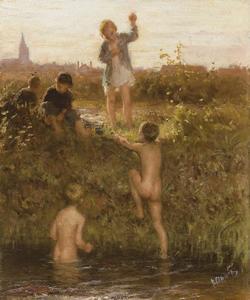 Badende jongens in Het Kanaal