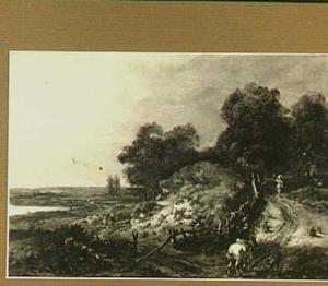 Landschap met reizigers op een weg langs een duintop