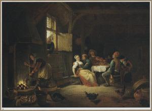 Interieur met een vrolijk boerengezelschap en een vrouw met een kookketel bij een haardvuur