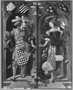 Schilddragers met de wapens van Jacob Florisz. van Montfoort en Dirckje Boelensdr.
