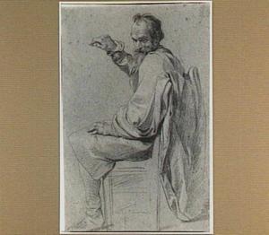 Zittende oude man op stoel