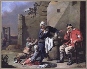 Vrouw die kinderen maant stil te zijn voor slapende oude man