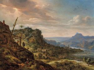 Rijnlandschap met een herberg op de linkeroever