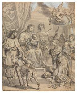 Maria met kind, H. Rochus, H. Sebastiaan en een knielende vrouw (donor?)