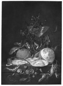 Stilleven met oesters, een citroen en een wijnglas