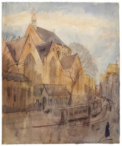 Riviervismarkt in Den Haag met de Grote of Sint-Jacobskerk