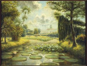 De Botanische Tuin te Buitenzorg, met het paleis van de gouverneur-generaal op de achtergrond