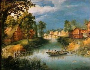 Rivierlandschap met reizigers op een pont bij een dorp