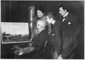 Portret van Willem Roelofs met zijn vrouw Albertine Roelofs en zijn twee zoons Willem Eliza en Albert