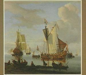 Hollandse schepen in een riviermonding