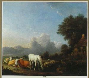 Landschap met rustend vee; links een boerderij