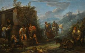 Landschap met boeren, die druiven oogsten