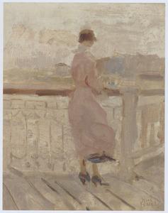 Staande vrouw op de pier, Scheveningen