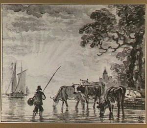Riviergezicht met visser en koeien