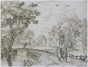 Landschap met reizigers bij een brug