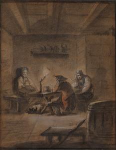 Drie figuren rond een tafel