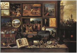 Interieur van een kunstkabinet met doorzicht naar 'Anes Iconoclastes'