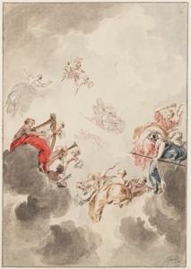 Wolkenlucht met Apollo, Minerva en de negen muzen